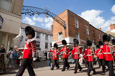 The Band of the Irish Guards March past the Spandrels in Banbury