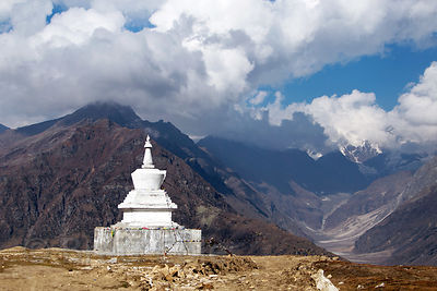 Buddhist stupa on Rohtang Pass (13,054 ft., 3,979 m), Manali, India