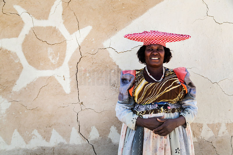 Portrait of a Herero WomanNext to her Home