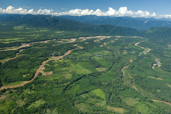Aerial view of Ichilo River where it reaches the plain after coming down from the Andes, dry season, Santa Cruz Department, B...
