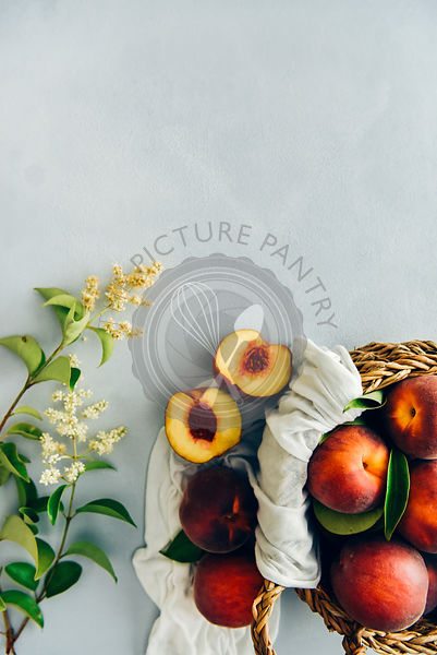 Fresh peaches in a basket accompanied by tiny flowers on a grey background photographed from top view.