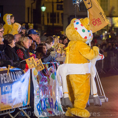 Pudsey Bear wearing a White Hobby Horse  in Banbury