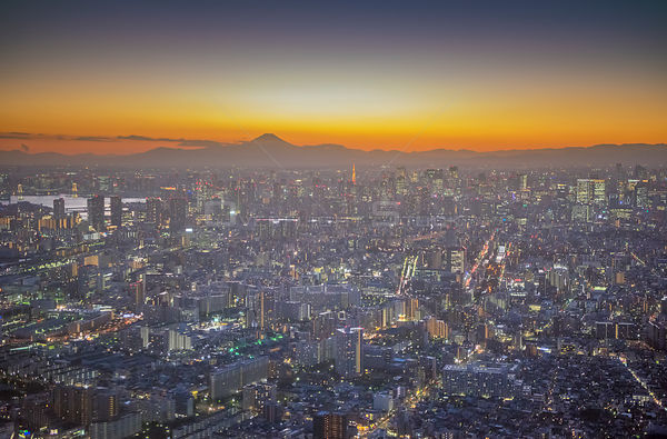 Tokyo  Japan and views of Mount Fuji