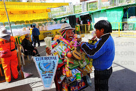 Ricardo Paco (the official ekeko) gets ready for the inauguration on the Alasitas festival, La Paz, Bolivia