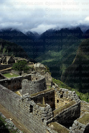 View looking down over Sun Temple to Urubamba Canyon, Machu Picchu, Peru