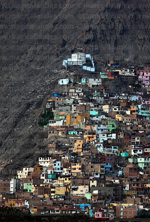 Part of shanty town on side of Cerro San Cristobal, Lima, Peru