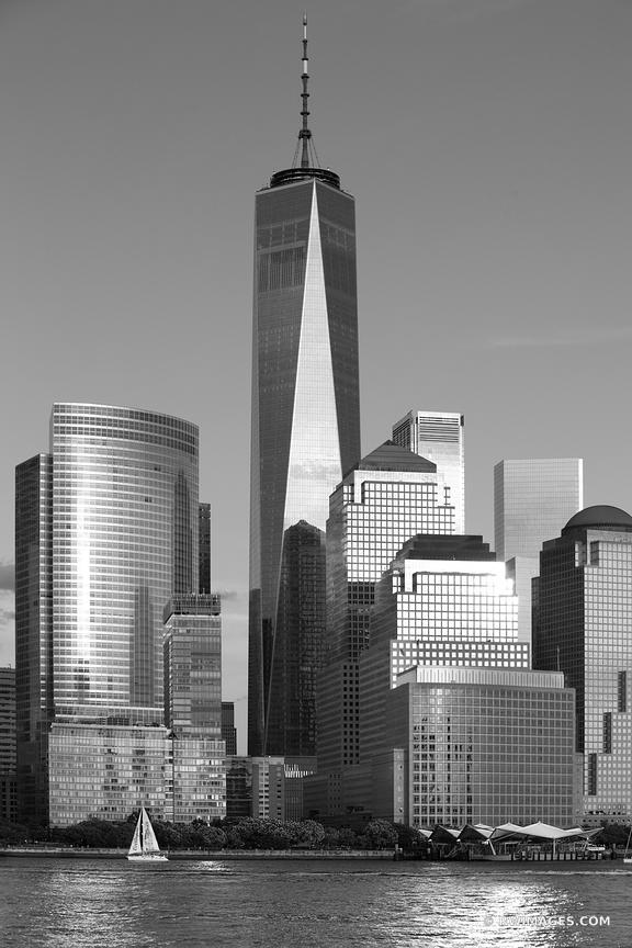 MANHATTAN SKYLINE FREEDOM TOWER NEW YORK CITY NEW YORK BLACK AND WHITE VERTICAL