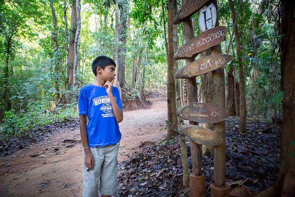 Sachita, 11 ans, dans la  Forêt Udawattakele à Kandy, Sri Lanka / Sachita, 11, in the Udawattakele Forest in Kandy, Sri Lanka