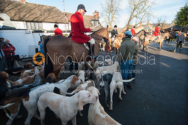Huntsman Peter Collins with the Quorn hounds at the meet at the Carington Arms, Ashby Folville