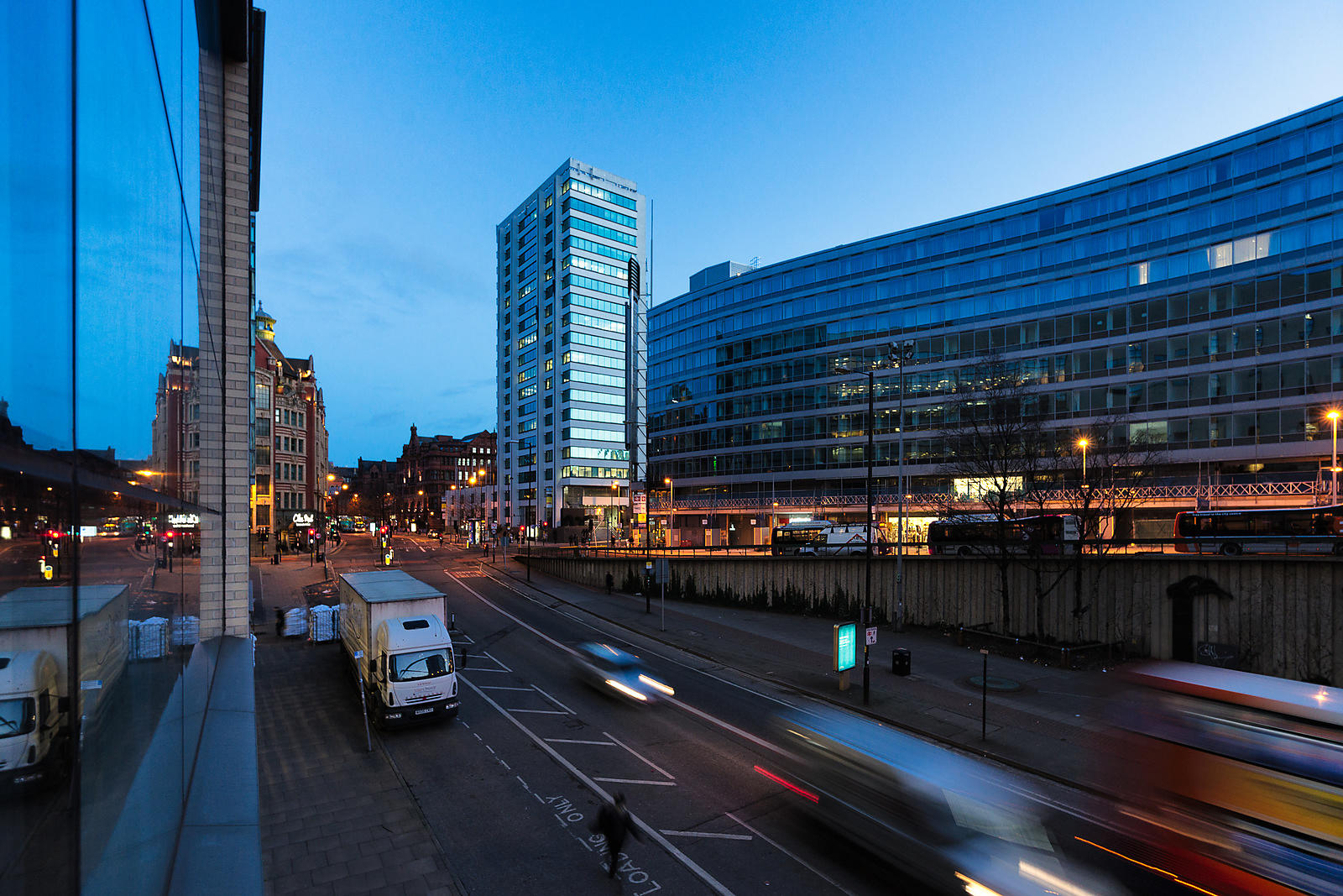 Cityscape-Canvas-wall-art-Blue_hour_Manchester_-_London_road