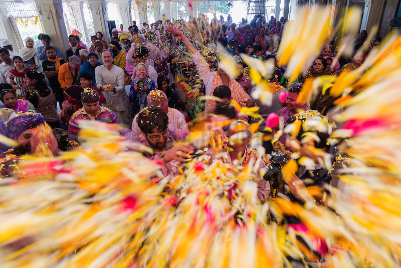 Revellers Throwing Petals at a Holi Celebration