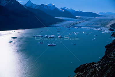 Aerial view of glacier near Lago, Argentina, South America 2000