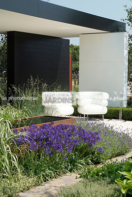 Terrasse contemporaine sous pergola en béton. Fauteuil Bibendum (collection Eileen Gray). Agapanthus africanus 'Tom Thumb'. P...