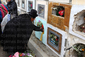 Aymara woman decorating tomb in cemetery with fresh flowers for Todos Santos festival, La Paz, Bolivia