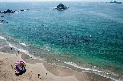 Parasailing on the Ocean Playa el Palmar Ixtapa Mexico