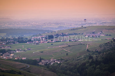 Balloon flight over landscapes of Beaujolais