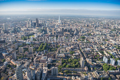 Aerial view of London, Barbican and City of London Skyline from St Luke's.