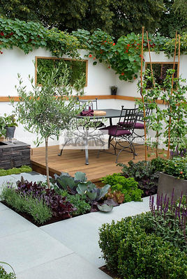 Contemporary garden, Garden chair, garden designer, Garden furniture, Garden table, Mini potager, Mini Vegetable garden, Olive tree, Parsley, Salad, Small garden, Tropaeolum majus, Urban garden, Wooden Terrace, Digital, Ironwork