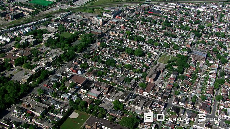 Flying over residential areas in Toronto, Ontario.