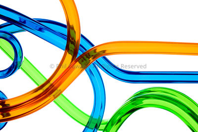 Abstract colorful plastic tubes on white background