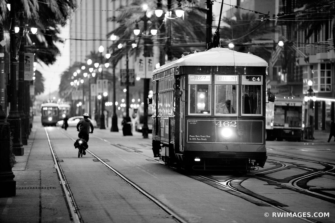 NEW ORLEANS STREET CAR CANAL STREET DOWNTOWN NEW ORLEANS BLACK AND WHITE