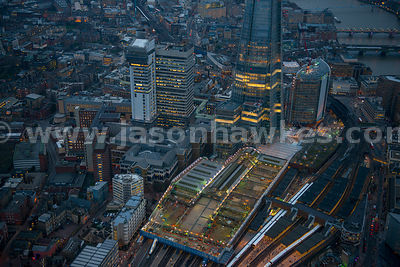 Aerial view of London Bridge railway station and the Shard, London