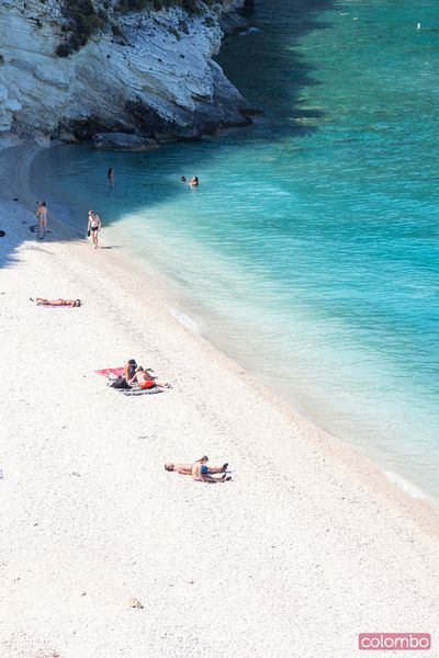 Elevated view of sandy beach in summer. Zante, Greek Islands, Greece