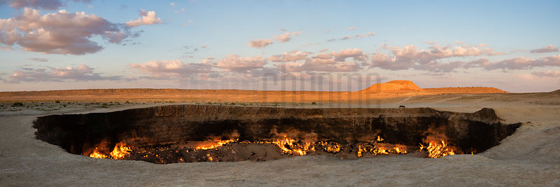 Panoramic View of the Darvaza Gas Crater at Sunset