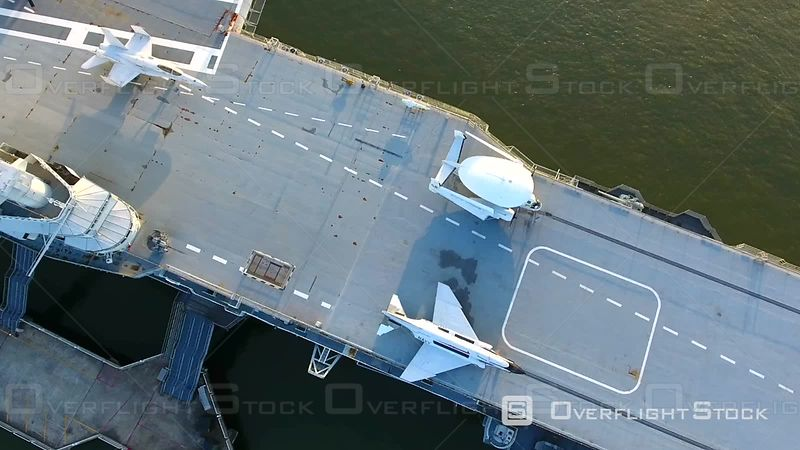 4k Aerial of Retired Aircraft Carrier Battleship In Charleston South Carolina