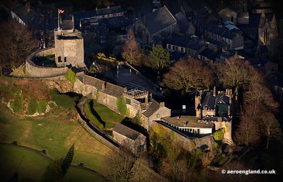 aerial photograph of Clitheroe Castle Lancashire UK