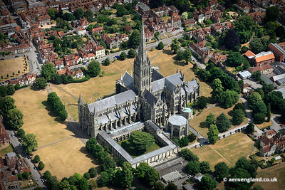 aerial photograph of Salisbury Cathedral  Wiltshire England UK.