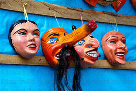Masks for sale at Virgen del Carmen festival , Paucartambo , Peru