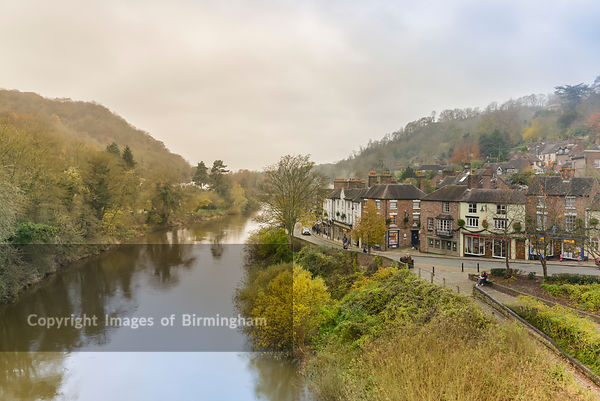 A view from the Iron Bridge in Ironbridge, Telford, Shropshire over the River Seven.
