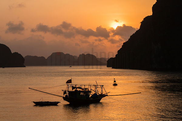 Squid Boat in Halong Bay at Sunrise