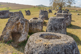 A group of stone jars at the Plain of Jars, Thong Hai Hin Site 1, at Thomghaihin near the town of Phonsavan in the province X...