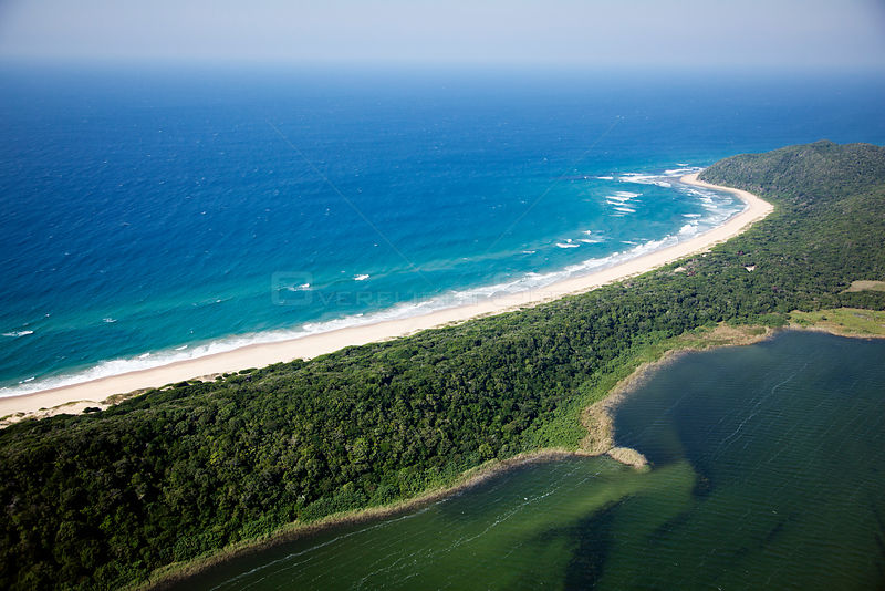 Aerial Photograph of Lake Sibaya / Sibhayi, KwaZulu-Natal Province, South Africa, Indian Ocean, June 2010