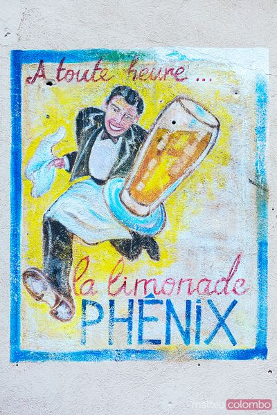 Wall mural advertising a soft drink, Aix en Provence, France