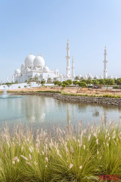 United Arab Emirates, Abu Dhabi. Sheikh Zayed Grand Mosque from outside