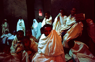 Ethiopia - Lalibela - Monks at dawn service