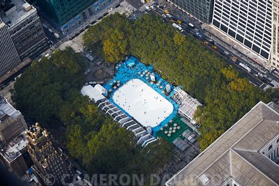 Aerial photograph of  Bryant Park Ice skating in New York City.