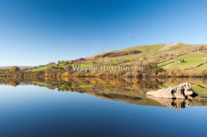 Autumn reflections in Semerwater, Wensleydale, North Yorkshire, UK.