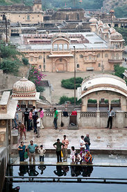 Hindus bathing at the admittedly filthy Galta Monkey Temple, Jaipur, Rajasthan, India