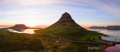 Aerial panoramic of mount Kirkjufell at sunset, Iceland