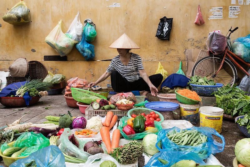 Street Vendor Selling Vegetables