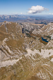 Aerial view of Durmitor Mountains with Sareni Pasovi Hills, Durmitor NP, Montenegro, October 2008