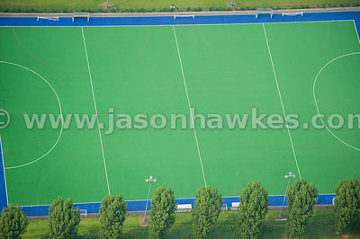 Aerial view over astroturf pitch