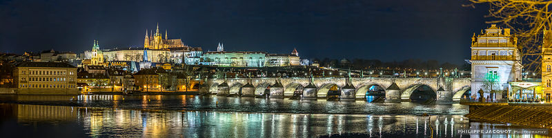 Night on the Charles Bridge with the Castle - Prague