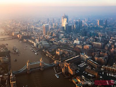 Aerial view of the Tower bridge and skyline of London