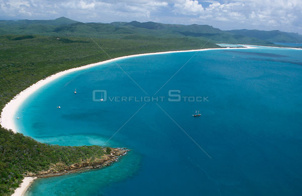 Aerial view of Whitehaven Beach, Whitsunday Islands, Queensland, Australia