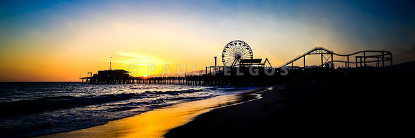 Santa Monica Pier Sunset Panoramic Photo